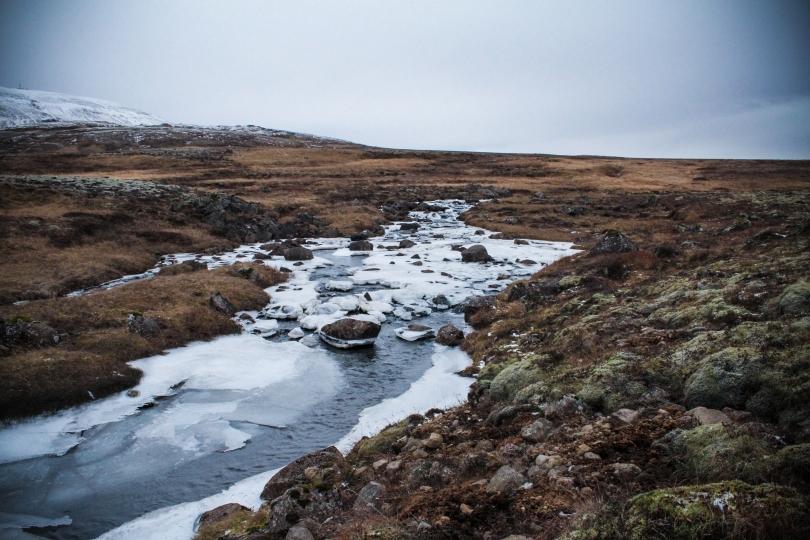 Frozen stream.